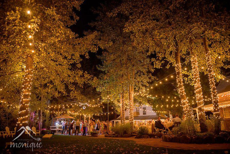 Magical garden reception at Twenty Mile House wedding venue Tahoe Reno