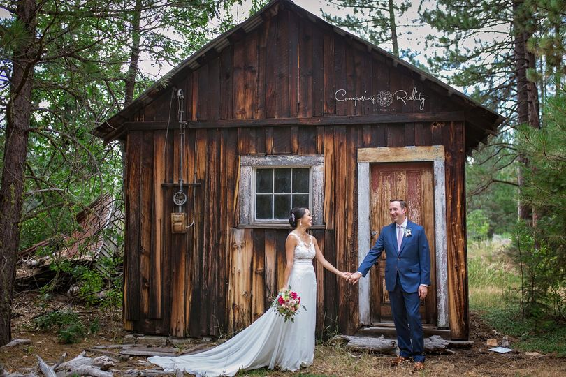 Wedding couple at historic mining cabin Twenty Mile House wedding Northern California