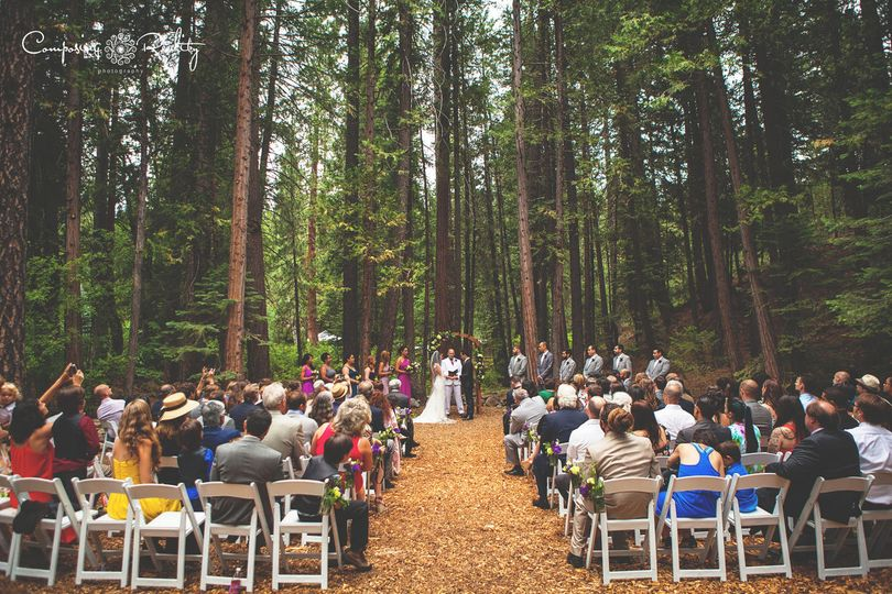 Towering forest ceremony Twenty Mile House wedding reception Tahoe Reno