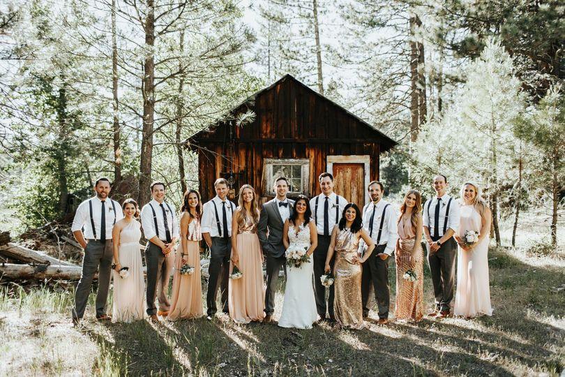 Wedding party historic mining cabin Twenty Mile House wedding reception Tahoe Reno