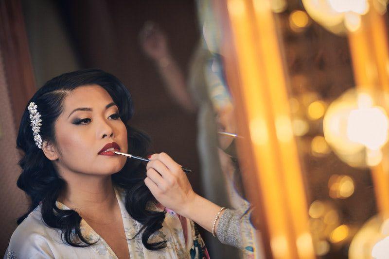 Glam hair and makeup