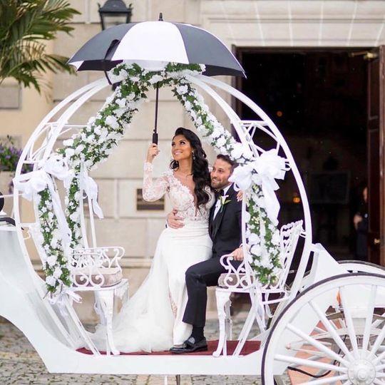 Newlyweds on carriage