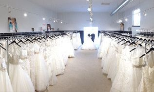 Rows of wedding dresses