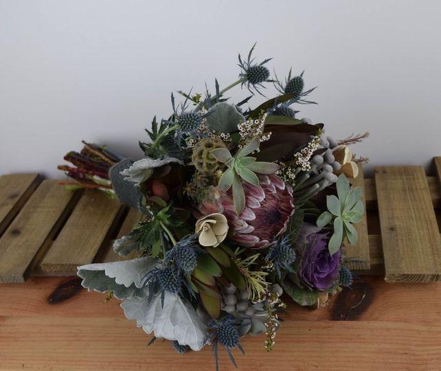 Succulent and Protea Bouquet