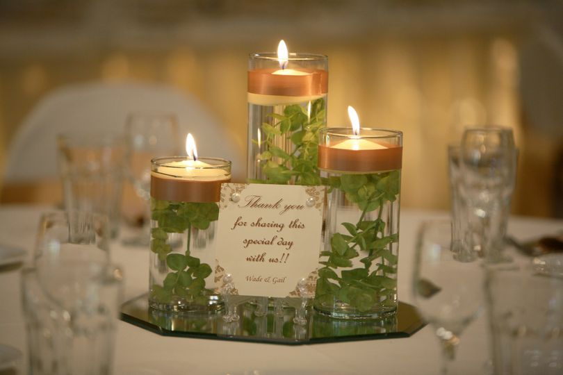 plant with float candle mirror