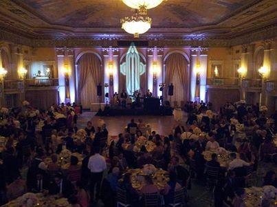 Crystal Ballroom at The Biltmore Grand Hotel Downtown Los Angeles Up-Lights, Custom Monogram &...