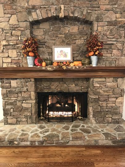 Fall on the fireplace