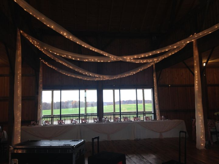 Ceiling draping at the White Barn