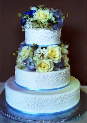 Beautiful Wedding Cake detailed in Blue