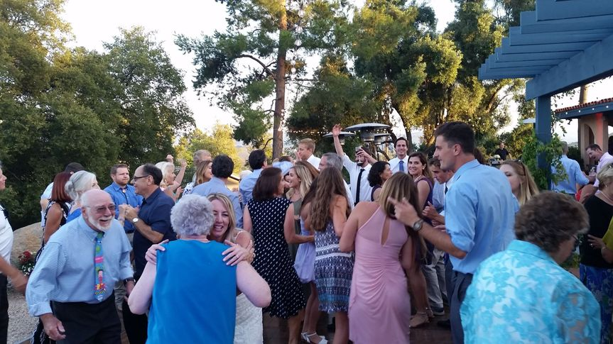 Dancing at Backyard wedding reception