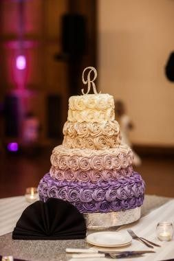 Purple ombre rose wedding cake: classic vanilla cake with hazelnut buttercream
