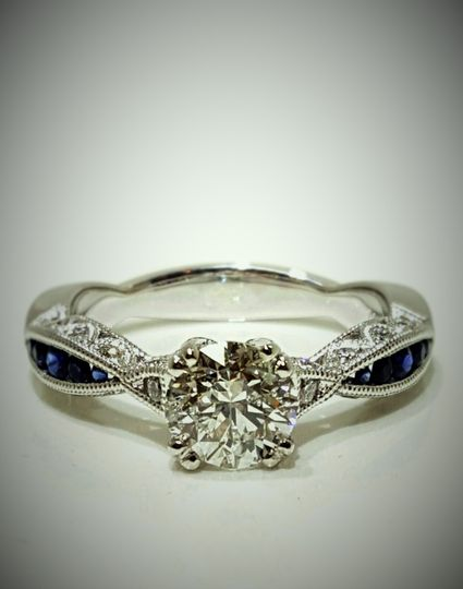Custom Creation: Vintage Inspired Engagement Ring Old Mine Cut Round Diamond Center with Natural...
