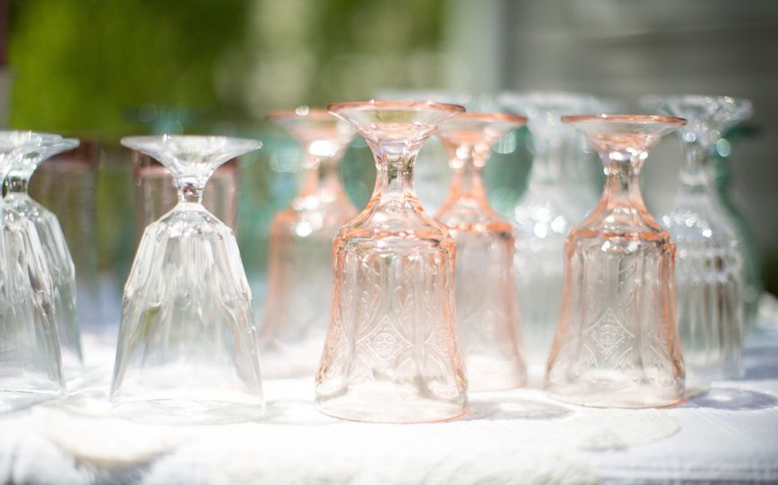 clear pink glassware shower