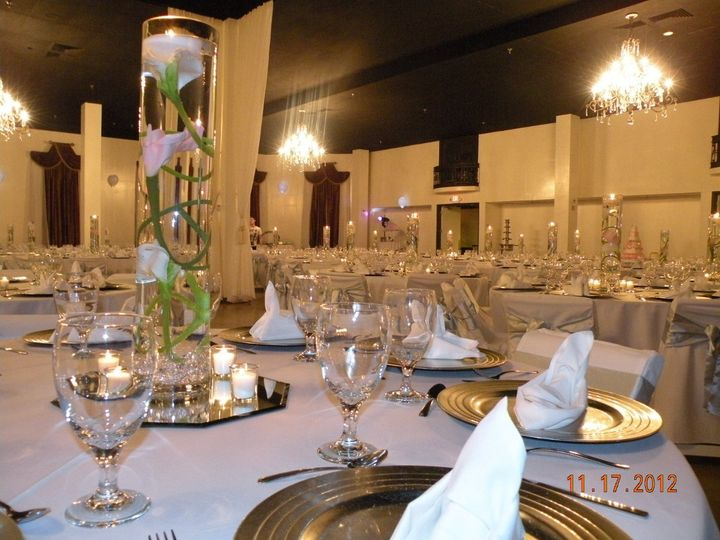 Indoor wedding venue table setup