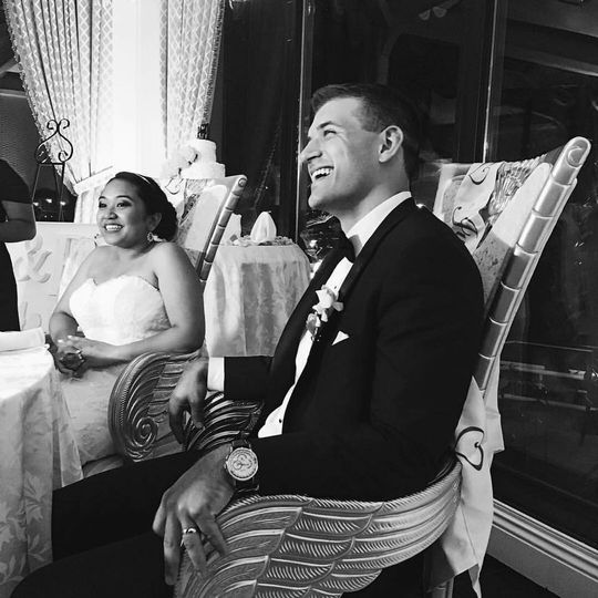 Newlyweds in black and white