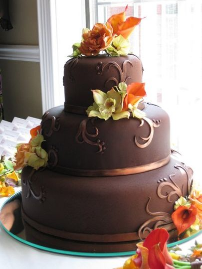 Chocolate Fondant, Bronze Swirls, and Sugar Orchids and Callas
