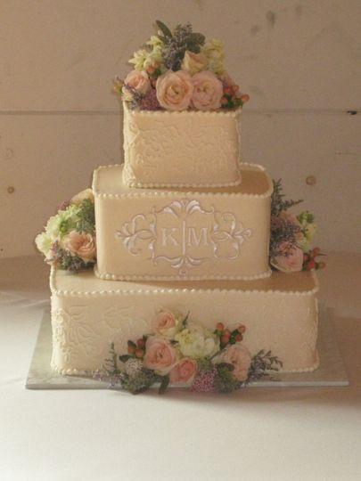 Monogrammed Ivory Wedding Cake