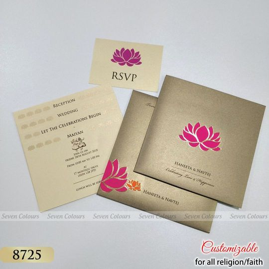 Lotus Theme Wedding Cards - Completely customizable for any religions.