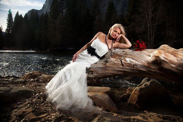 The bride looks stunning during her Winter Elopement in Yosemite Valley.