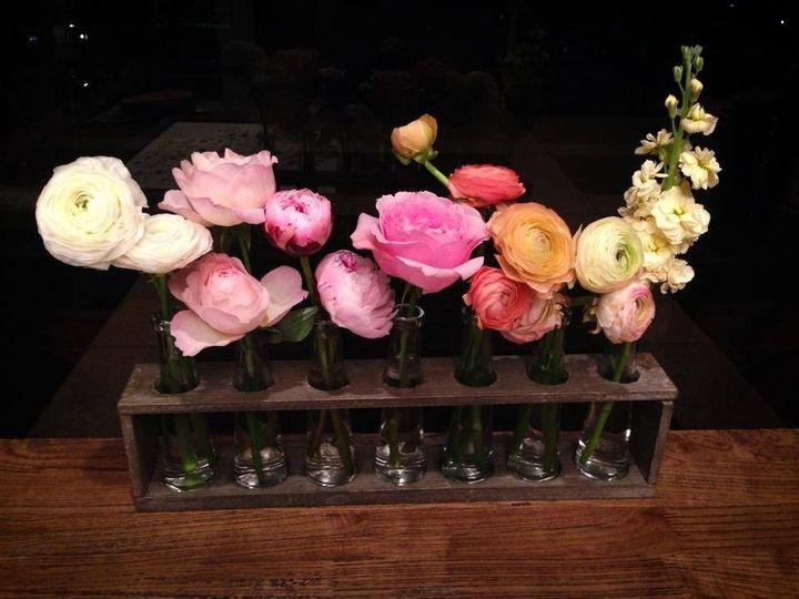 Floral arrangement in test tube rack