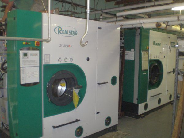 New System 4 drycleaning machine to clean fine garments and silk wedding gowns.