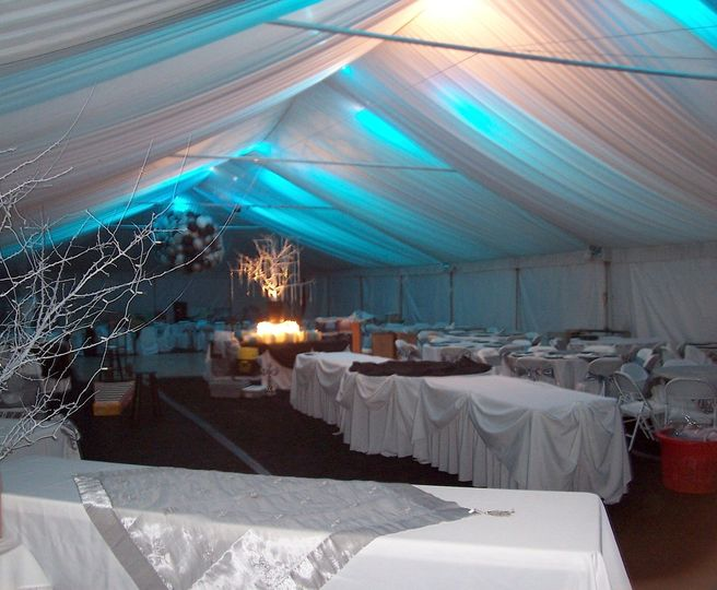 A wedding we set up for in Japser. To create the lighting effect, we used blue bulbs in spotlights...