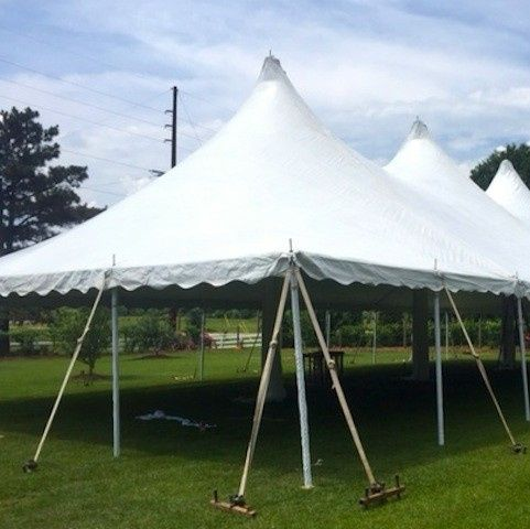Just a simple shot of one of our high peak wedding tents before any decorating could be done.