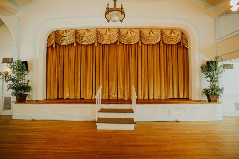 Stage with closed curtains