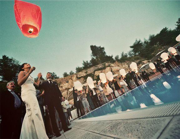 matrimonio con volo delle lantern