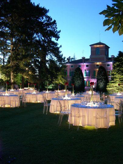 Modern reception for an evening wedding