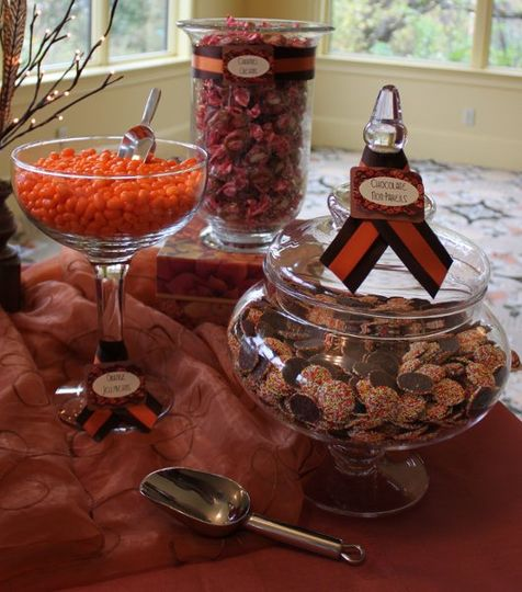 Orange Sherbert Jelly Bellies, Caramel Creams, and Autumn Non-Pareils tie in with the theme...