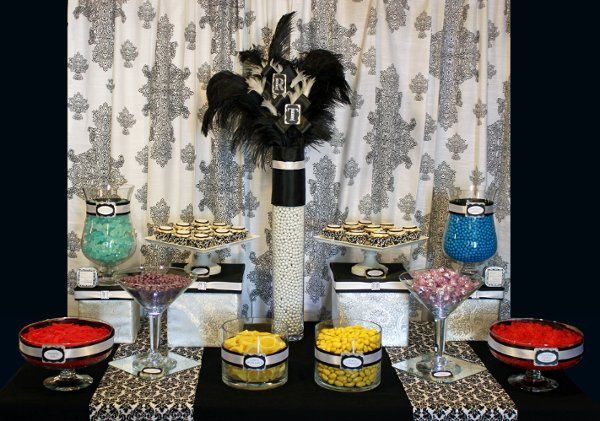 Black and white damask candy buffet created for Tom and Rachel.  This was put back together for a...