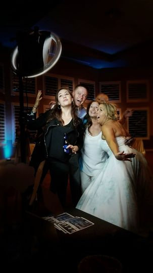A wedding picture taken with our halo booth