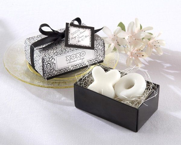 "Hugs & Kisses From Mr. & Mrs."" Scented Soaps - with simple black-and-white elegance, you can send..."