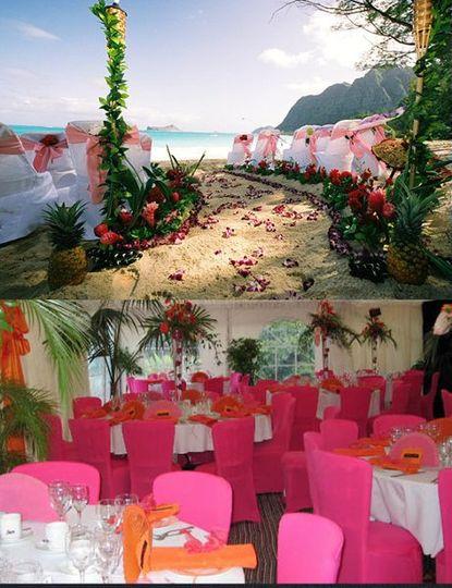 Hawaii beach wedding with Pink