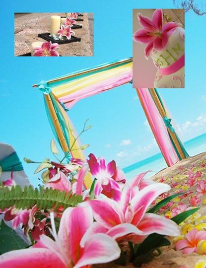 Pink yellow and turquoise arch