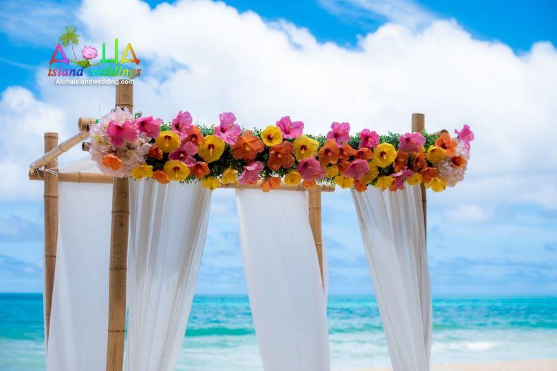 Hawaii wedding arch on Oahu