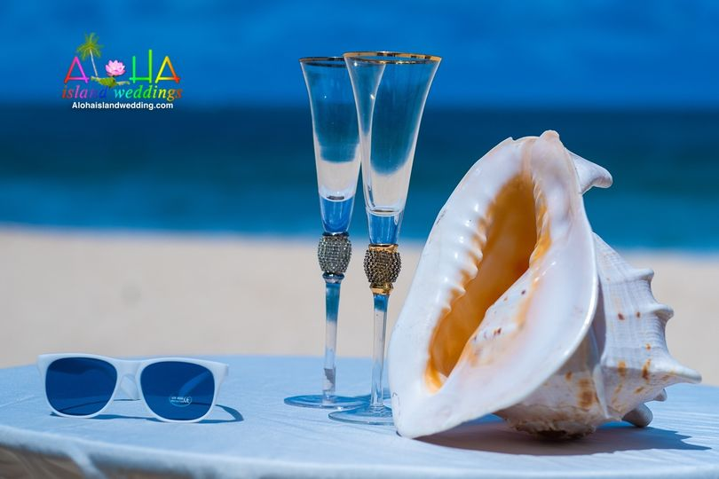 Conch shell and at beach wed