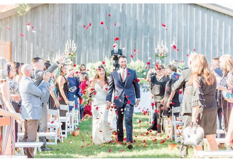 Wedding ceremony at the barn
