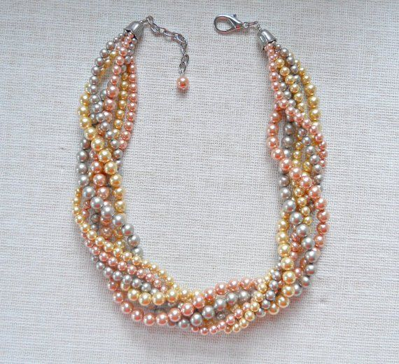Gathered Twist Necklace, in Sunset mix