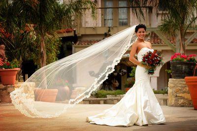 The bride holding bouquet