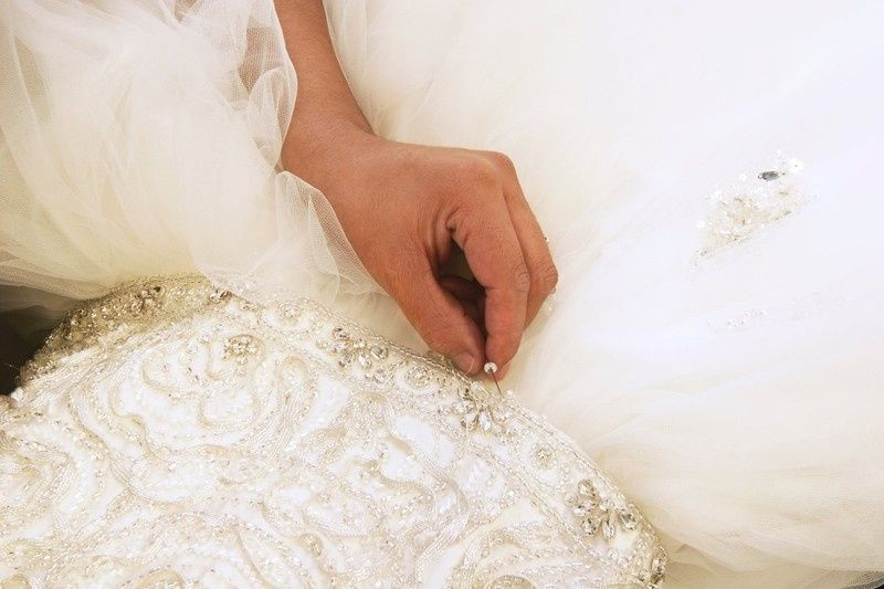 Beading a wedding gown