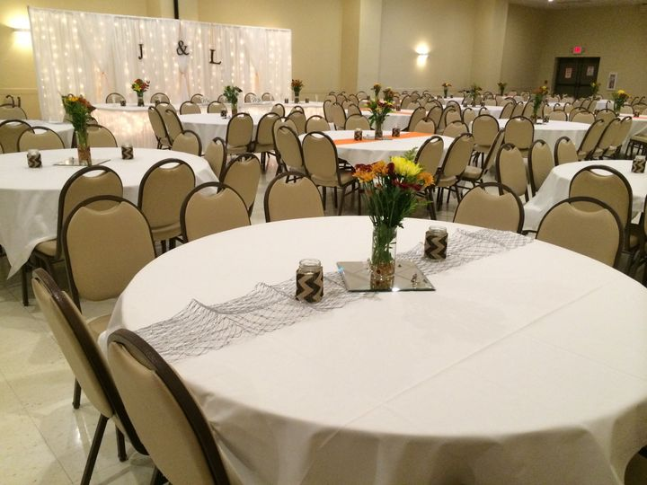 Table set up with flower centerpiece