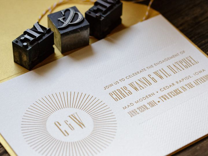 Metallic gold ink and blind impression letterpress, for a modern take on wedding invites.