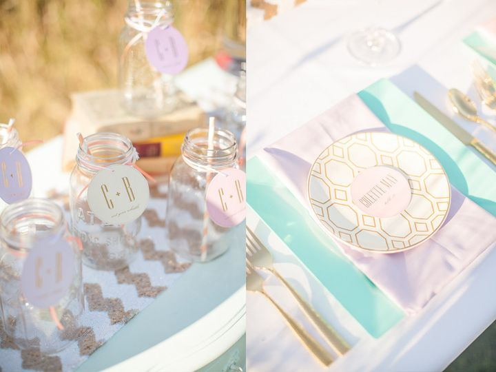 Custom drink tags and placecards for this pastel themed wedding.  Photo by Lindsay Herbst...