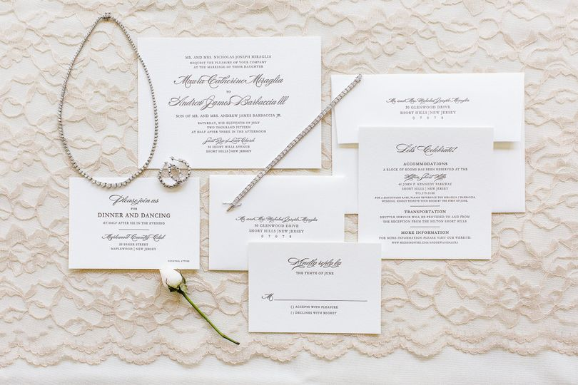 Classic letterpress wedding suite.  Photo by Robyn Photography