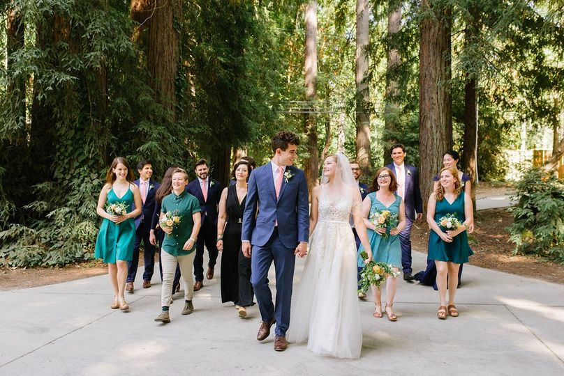 Bridal Party in the Redwoods