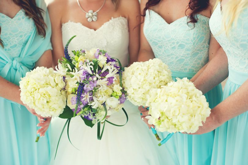 Bridesmaids and the bride's bouquet