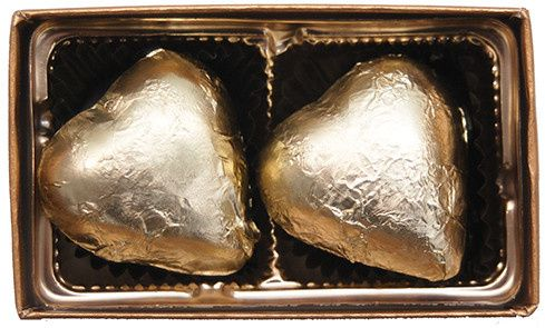 piece chocolate gold foiled heart
