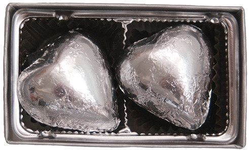 piece silver foiled chocolate heart